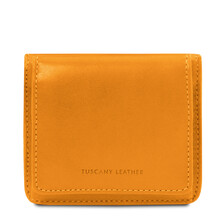 Portofel dama din piele naturala galbena Tuscany Leather