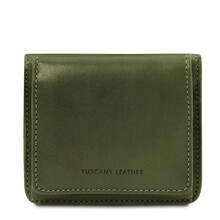 Portofel dama din piele naturala verde Tuscany Leather
