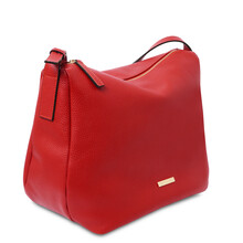 Geanta dama din piele naturala rosu aprins, Tuscany Leather, TL Bag Soft