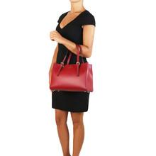 Geanta dama din piele naturala Tuscany Leather, rosie, AuraS