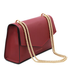 Plic dama din piele naturala rosie, Tuscany Leather, Fortuna