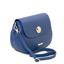 Geanta dama din piele naturala albastra, Tuscany Leather, Fresia