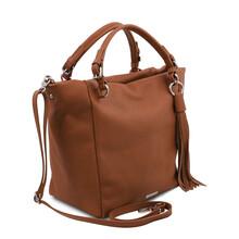 Geanta dama din piele naturala coniac, Tuscany Leather, TL Bag Soft