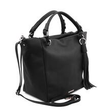 Geanta dama din piele naturala neagra, Tuscany Leather, TL Bag Soft