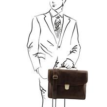 Geanta laptop Tuscany Leather din piele maro inchis Alessandria