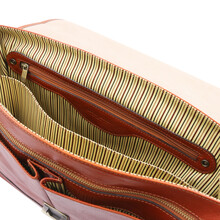 Servieta din piele naturala Tuscany Leather, honey, Mantova TL SMART