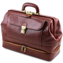Geanta doctor din piele naturala maro inchis, Tuscany Leather, Giotto
