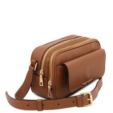 Borseta dama din piele naturala coniac, Tuscany Leather, TL Bag