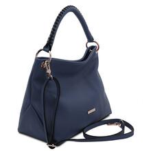 Geanta dama din piele albastru inchis, Tuscany Leather, TL Bag Soft