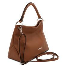 Geanta dama din piele coniac, Tuscany Leather, TL Bag Soft