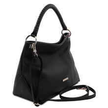 Geanta dama din piele neagra, Tuscany Leather, TL Bag Soft
