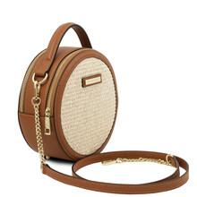 Geanta dama din piele coniac, cu efect de paie Tuscany Leather, Thelma-1