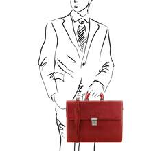 Servieta Tuscany Leather din piele rosie cu doua compartimente Parma