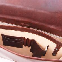 Servieta barbati din piele naturala Tuscany Leather, maro, Amafli