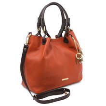 Geanta dama, din piele naturala brandi, Tuscany Leather, TL KeyLuck