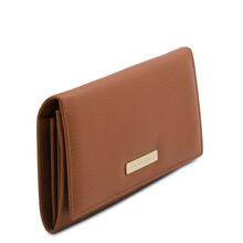 Portofel dama din piele naturala coniac, Tuscany Leather, Nefti