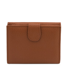 Portofel dama din piele naturala coniac, Tuscany Leather, Calliope