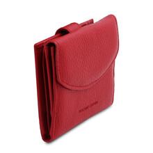 Portofel dama din piele naturala rosu aprins, Tuscany Leather, Calliope