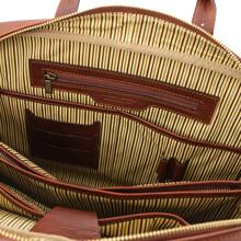 Servieta din piele naturala maro, Tuscany Leather, Matera