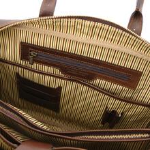 Servieta din piele naturala maro inchis, Tuscany Leather, Matera