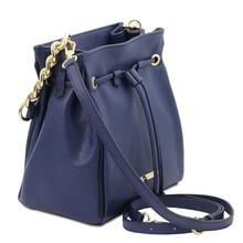 Geanta dama din piele naturala albastru inchis Tuscany Leather, TL Bag Soft