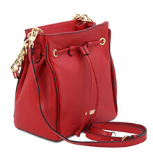 Geanta dama din piele naturala rosu aprins Tuscany Leather, TL Bag Soft