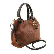 Geanta dama din piele printata maro scortisoara, Tuscany Leather, TL KeyLuck