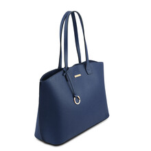 Geanta dama din piele albastru inchis, Tuscany Leather, TL Bag