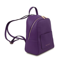Rucsacel dama din piele naturala mov, Tuscany Leather, TL Bag