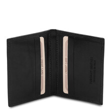 Portcard din piele naturala neagra, Tuscany Leather, Exclusive
