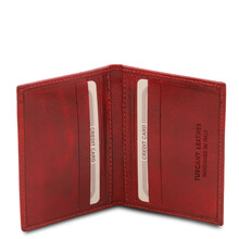 Portcard din piele naturala rosie, Tuscany Leather, Exclusive