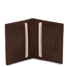 Portcard din piele maro inchis, Tuscany Leather, Exclusive