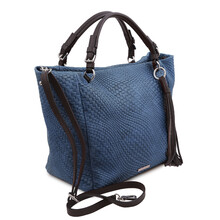 Geanta dama din piele naturala albastru inchis, TL Bag Woven