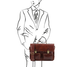 Servieta barbati din piele maro, Tuscay Leather, Ventimiglia TL SMART