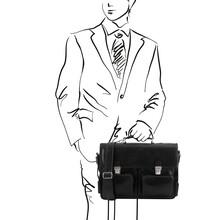 Servieta barbati din piele neagra, Tuscay Leather, Ventimiglia TL SMART