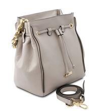 Geanta dama din piele naturala gri Tuscany Leather, TL Bag Soft