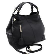 Geanta dama piele naturala neagra, Tuscany Leather,  Ambrosia