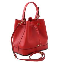 Geanta dama din piele naturala rosu aprins, Tuscany Leather, Minerva