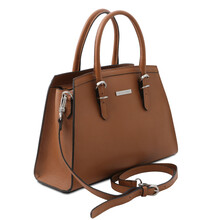 Geanta dama piele naturala coniac, Tuscany Leather, TL Bag