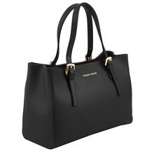 Geanta dama din piele neagra Tuscany Leather, Aura