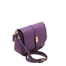 Geanta dama din piele violet Tuscany Leather, Nausica