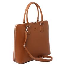 Geanta business eleganta dama din piele naturala coniac, Tuscany Leather, Magnolia