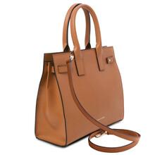 Geanta dama din piele coniac, Tuscany Leather, Catherine