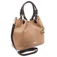 TL KeyLuck Soft leather shopping bag Champagne