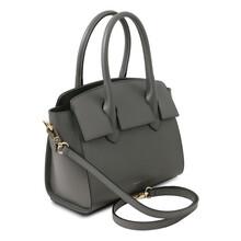 Geanta dama din piele naturala gri, Tuscany Leather, Brigid