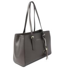 TL Bag Leather shoulder bag Grey