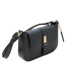 Geanta dama piele neagra croc print, Tuscany Leather, Noemi