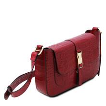 Geanta dama piele rosie croc print, Tuscany Leather, Noemi