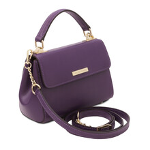 Geanta dama din piele naturala violet, Tuscany Leather