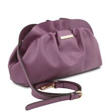 Geanta cu lant din piele naturala lila, Tuscany Leather